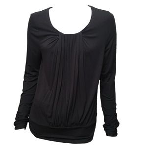 Anne Klein Black Long Sleeve Pleated  Front Top